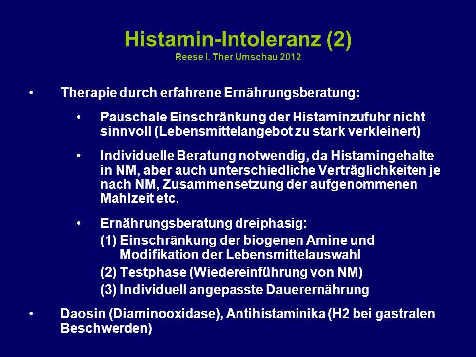 Histamin-Intoleranz (2) Reese I, Ther Umschau 2012