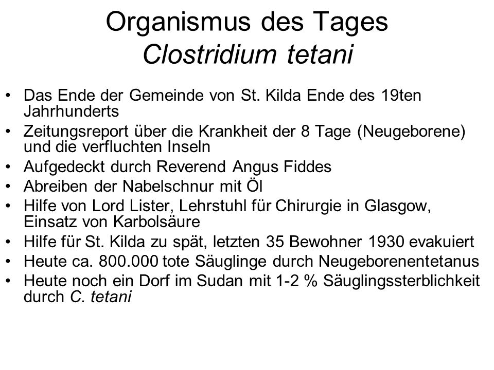 Organismus des Tages Clostridium tetani