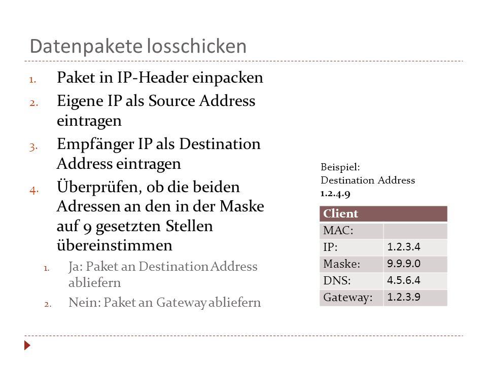 Datenpakete losschicken