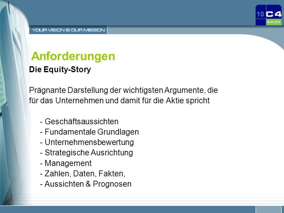 Anforderungen Die Equity-Story