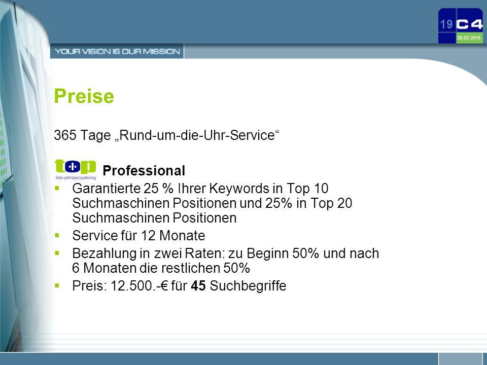 """Preise 365 Tage """"Rund-um-die-Uhr-Service Professional"""