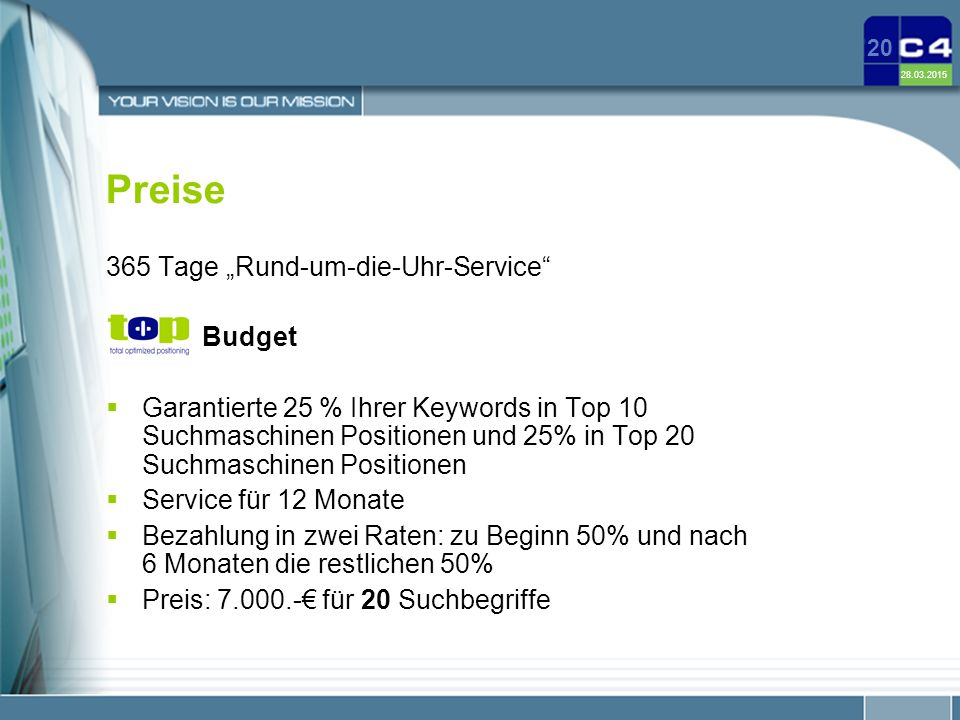 """Preise 365 Tage """"Rund-um-die-Uhr-Service Budget"""