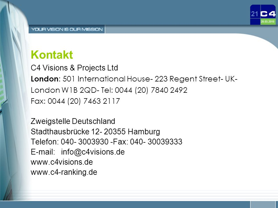 Kontakt C4 Visions & Projects Ltd