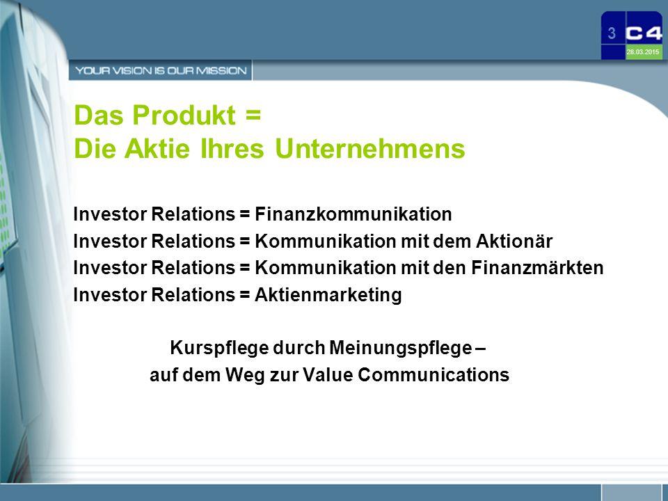 Das Produkt = Die Aktie Ihres Unternehmens