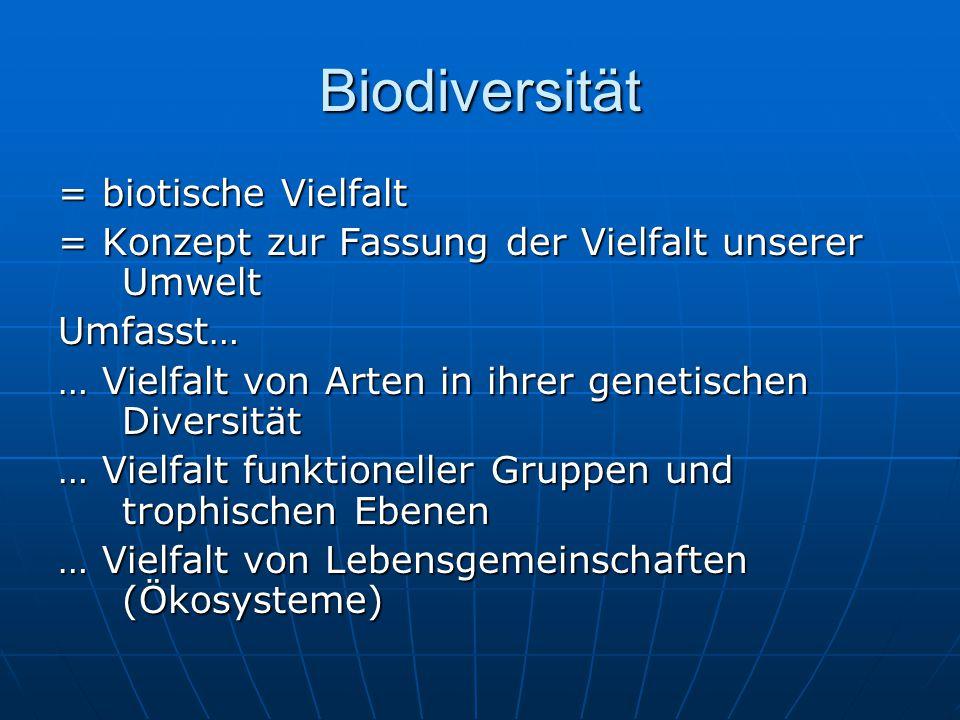 Biodiversität = biotische Vielfalt