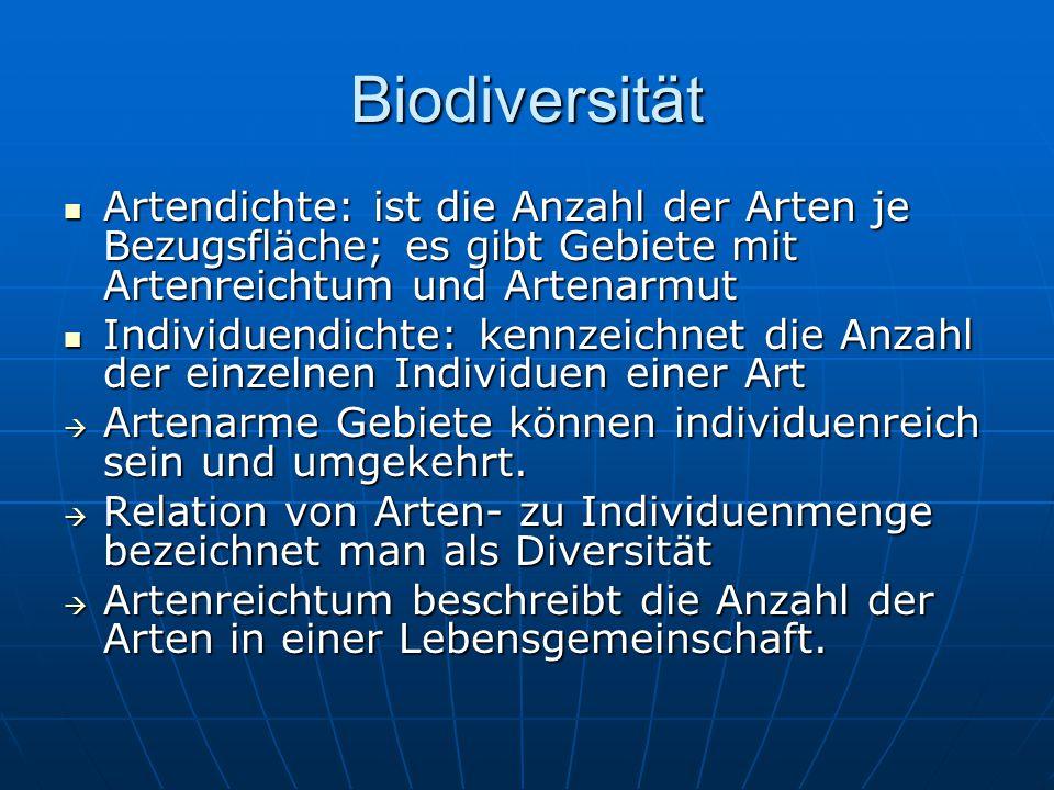 Biodiversität Artendichte: ist die Anzahl der Arten je Bezugsfläche; es gibt Gebiete mit Artenreichtum und Artenarmut.