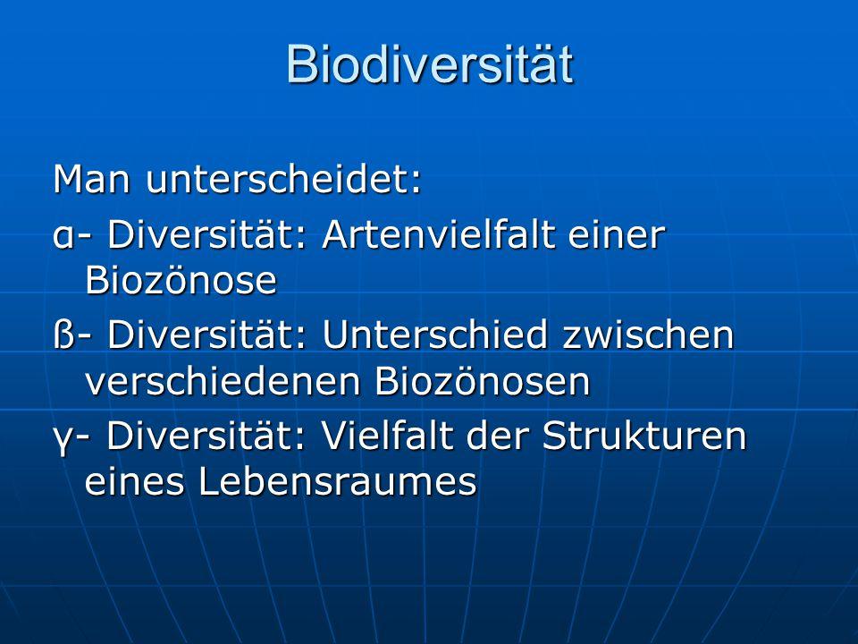 Biodiversität Man unterscheidet: