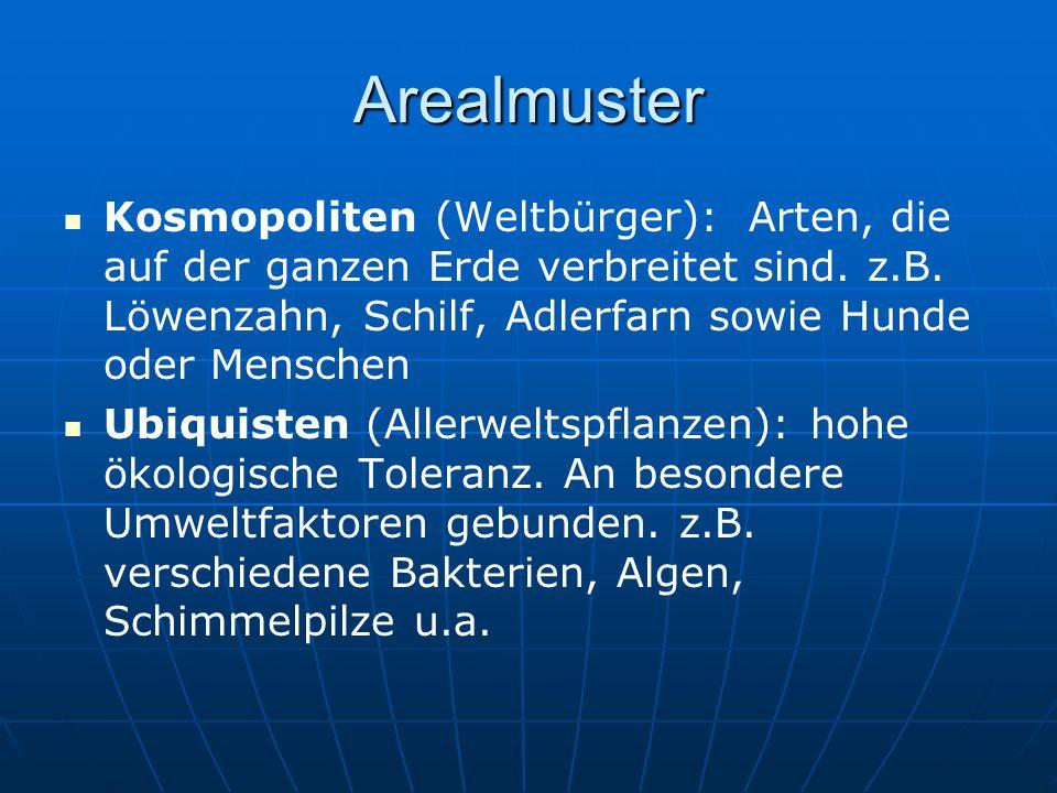 Arealmuster Kosmopoliten (Weltbürger): Arten, die auf der ganzen Erde verbreitet sind. z.B. Löwenzahn, Schilf, Adlerfarn sowie Hunde oder Menschen.