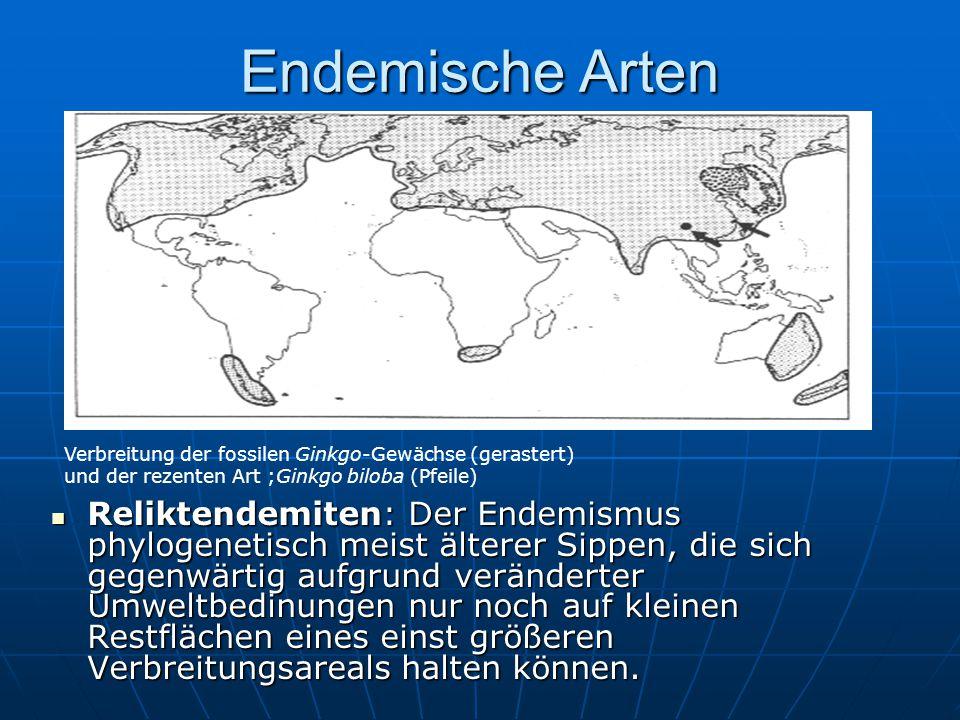 Endemische Arten Verbreitung der fossilen Ginkgo-Gewächse (gerastert) und der rezenten Art ;Ginkgo biloba (Pfeile)