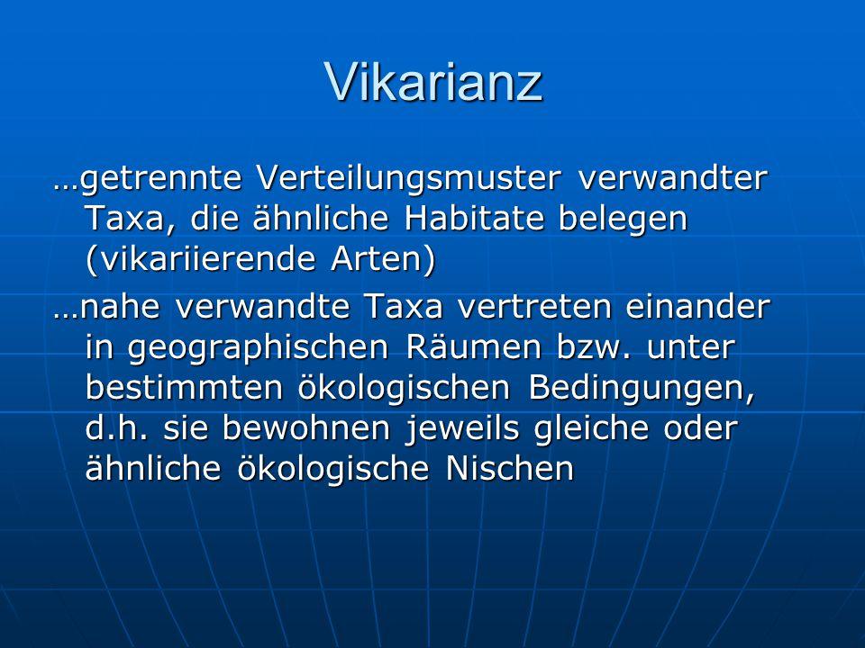 Vikarianz …getrennte Verteilungsmuster verwandter Taxa, die ähnliche Habitate belegen (vikariierende Arten)
