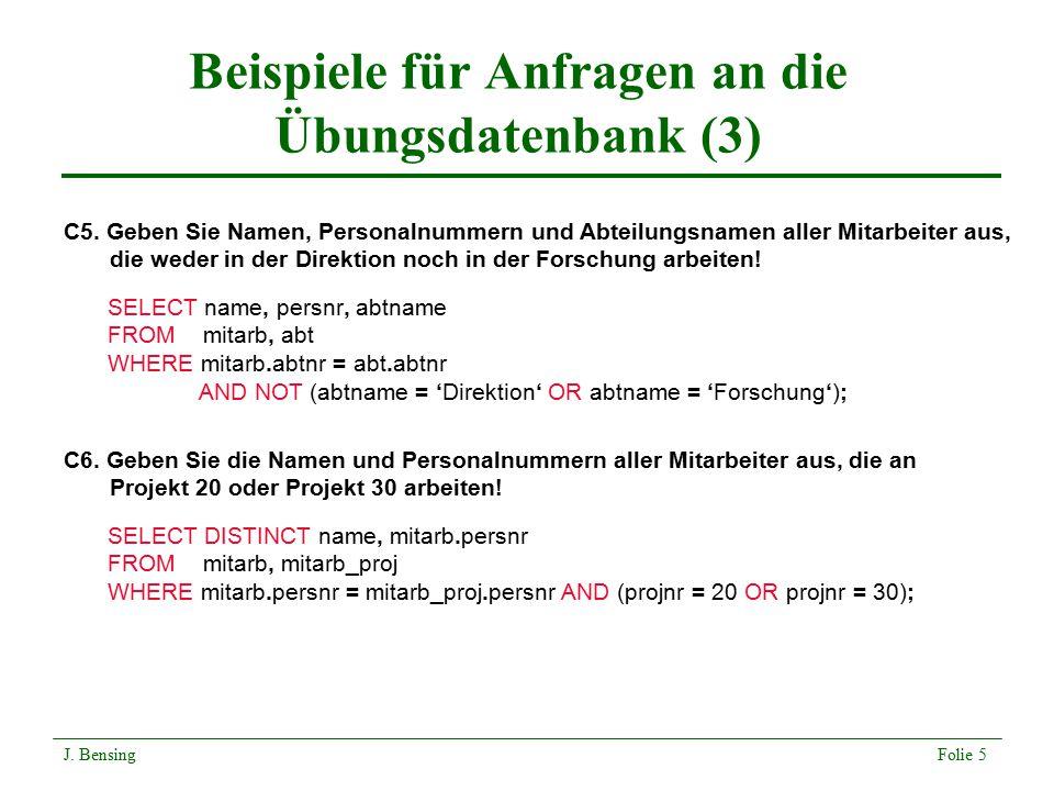Beispiele für Anfragen an die Übungsdatenbank (3)