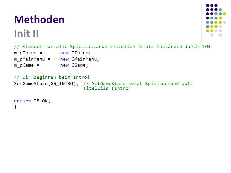 Methoden Init II // Klassen für alle Spielzustände erstellen  als Instanzen durch NEW. m_pIntro = new CIntro;
