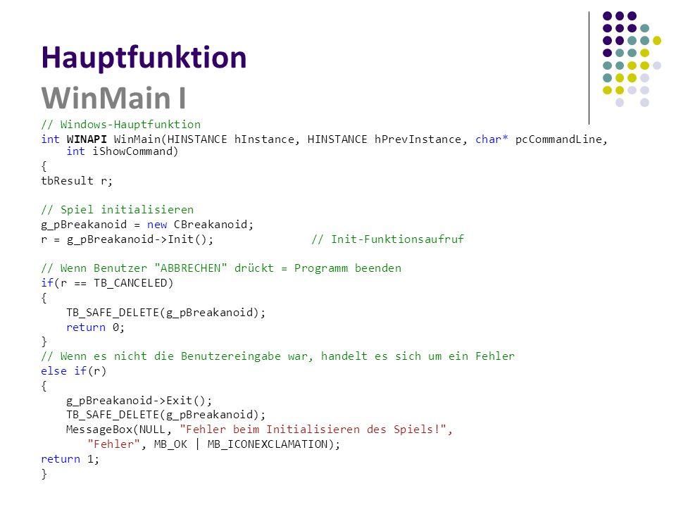 Hauptfunktion WinMain I