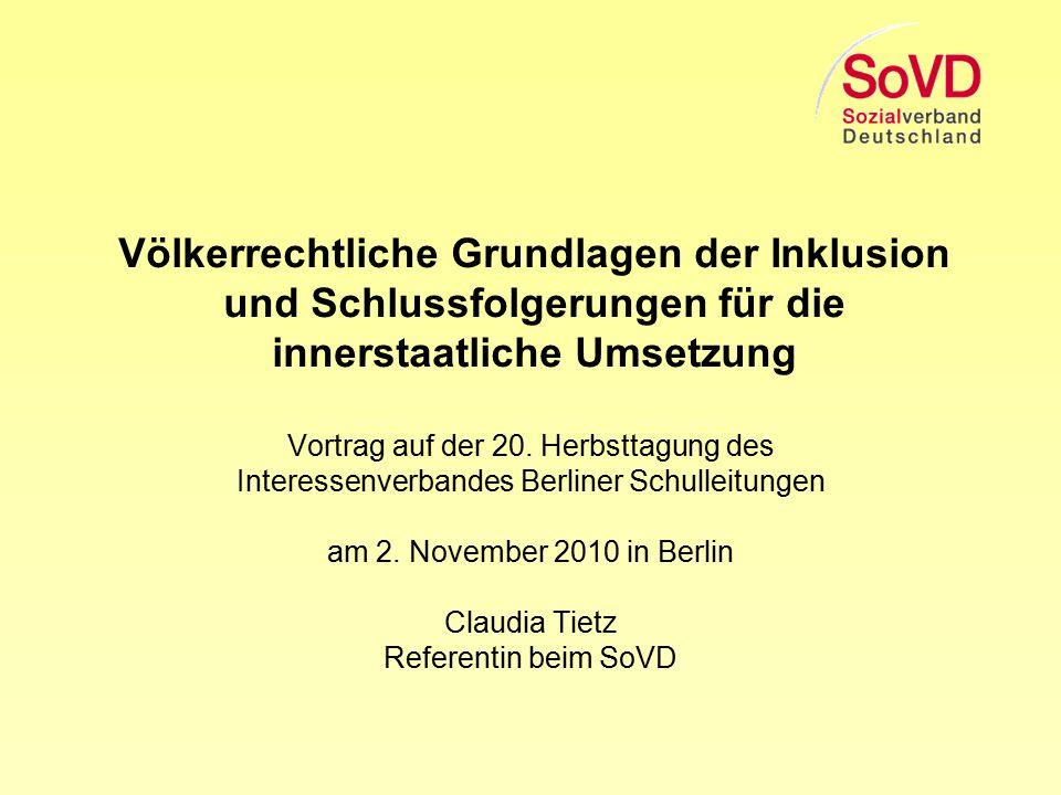 Völkerrechtliche Grundlagen der Inklusion und Schlussfolgerungen für die innerstaatliche Umsetzung
