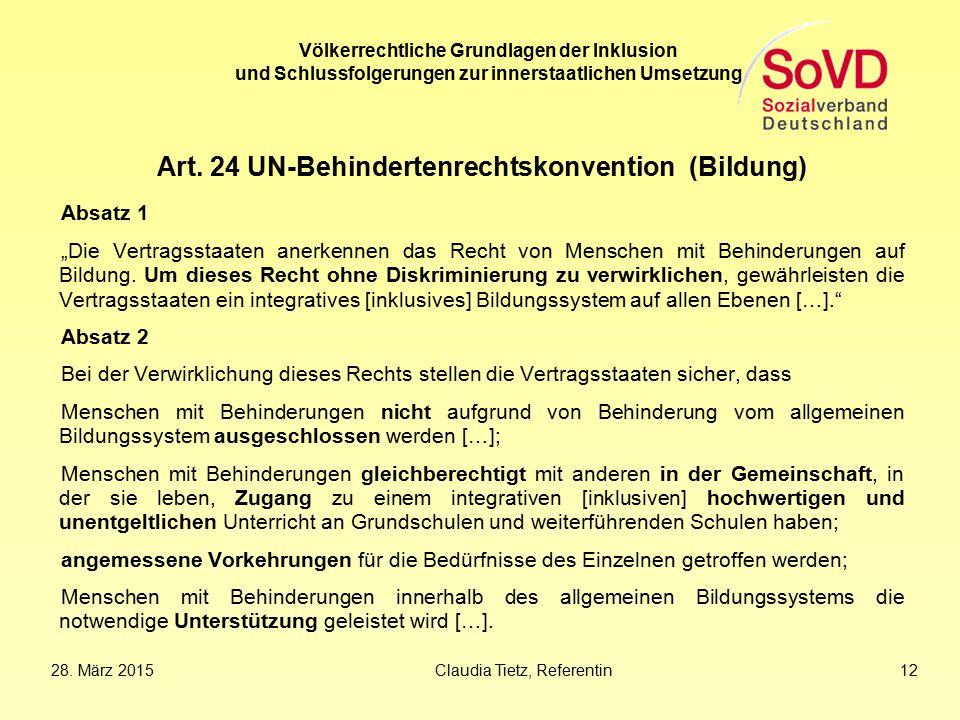Art. 24 UN-Behindertenrechtskonvention (Bildung)