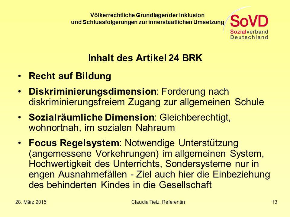 Inhalt des Artikel 24 BRK Recht auf Bildung