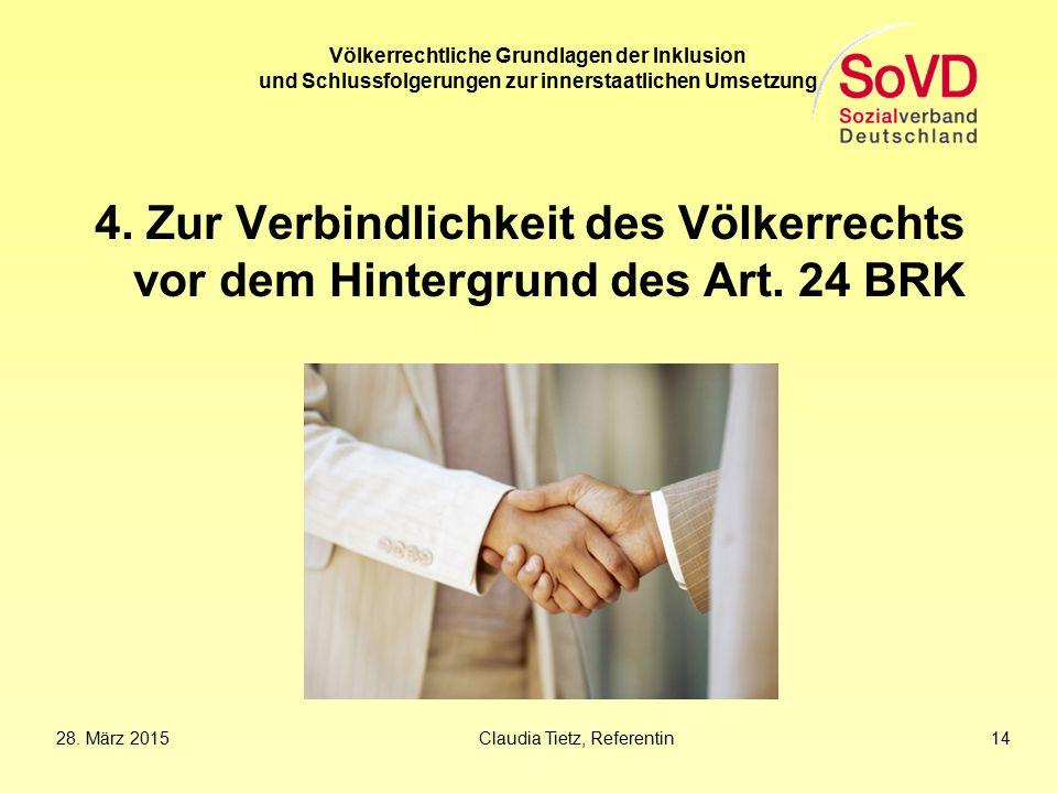 Völkerrechtliche Grundlagen der Inklusion und Schlussfolgerungen zur innerstaatlichen Umsetzung
