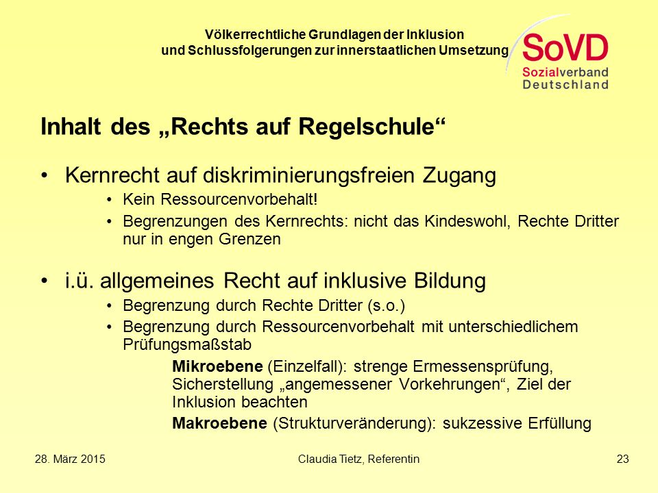 """Inhalt des """"Rechts auf Regelschule"""