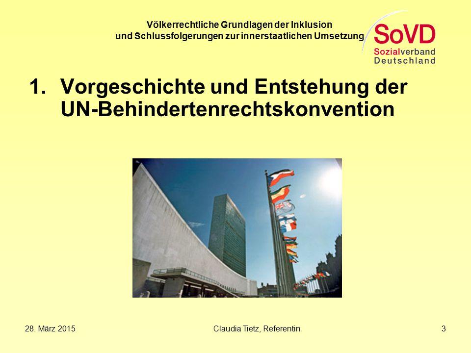 Vorgeschichte und Entstehung der UN-Behindertenrechtskonvention