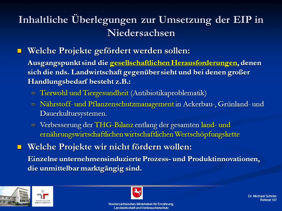 Inhaltliche Überlegungen zur Umsetzung der EIP in Niedersachsen