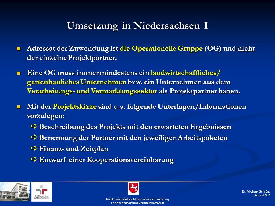 Umsetzung in Niedersachsen I