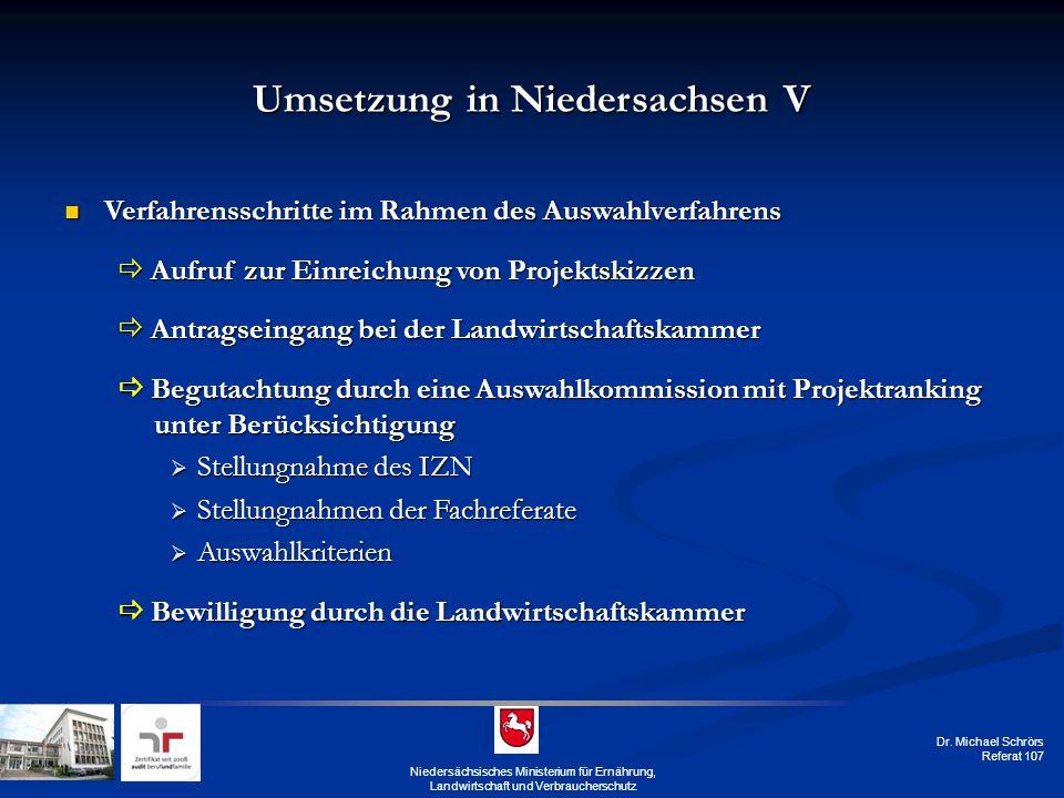 Umsetzung in Niedersachsen V