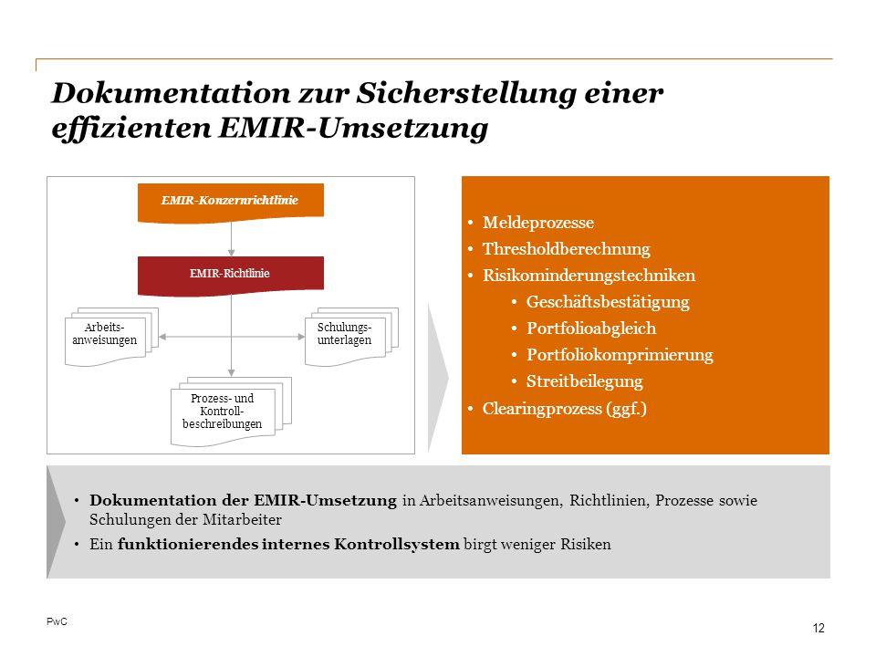 Dokumentation zur Sicherstellung einer effizienten EMIR-Umsetzung
