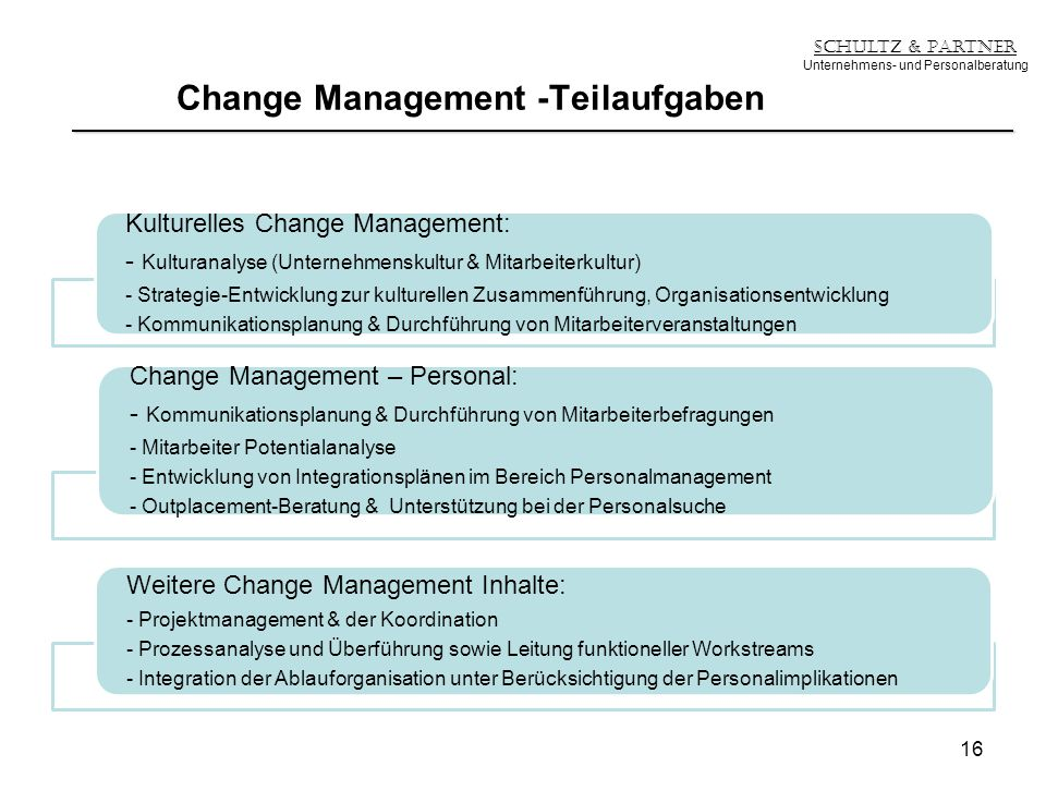 Change Management -Teilaufgaben