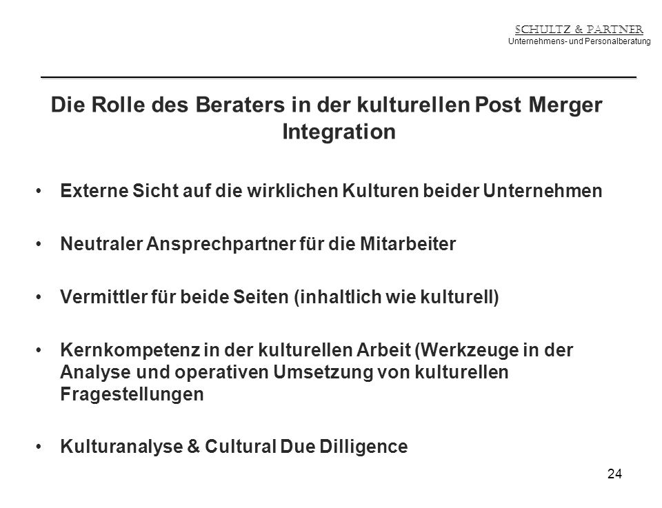 Die Rolle des Beraters in der kulturellen Post Merger Integration