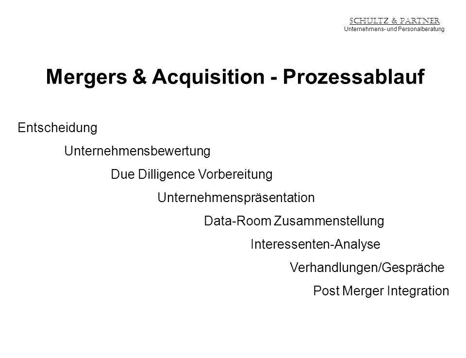 Mergers & Acquisition - Prozessablauf