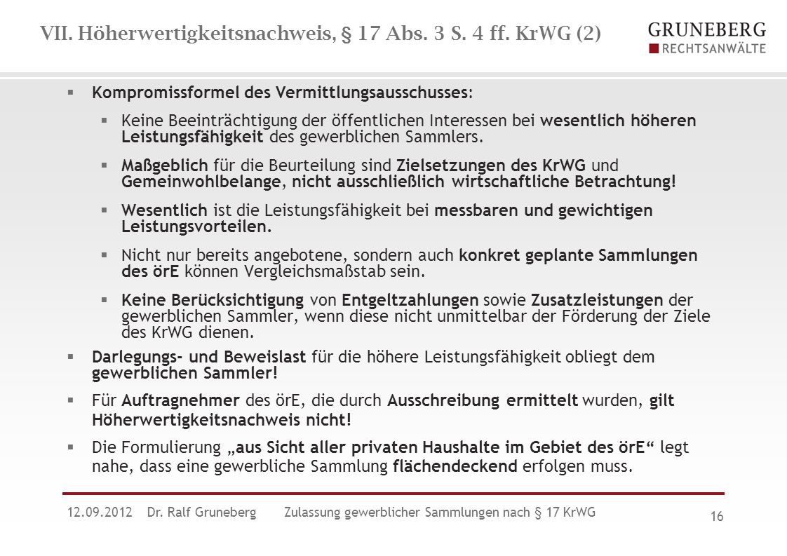 VII. Höherwertigkeitsnachweis, § 17 Abs. 3 S. 4 ff. KrWG (2)