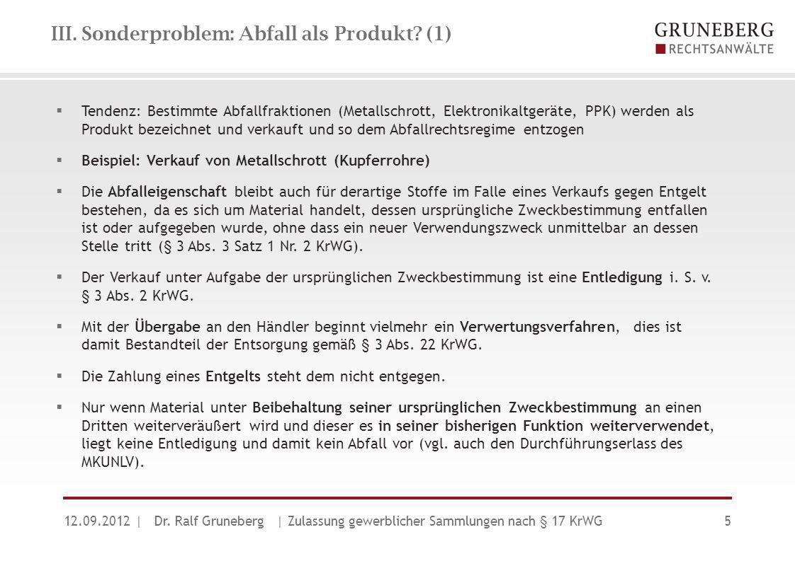 III. Sonderproblem: Abfall als Produkt (1)