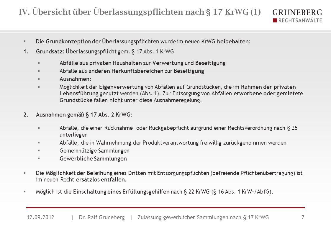 IV. Übersicht über Überlassungspflichten nach § 17 KrWG (1)