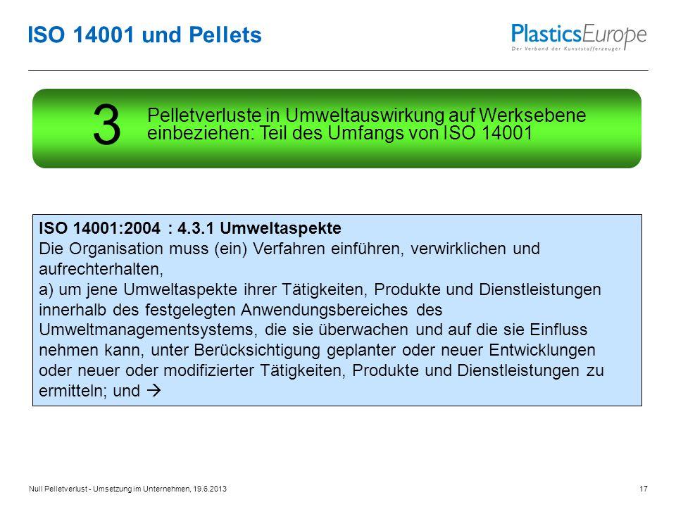 ISO 14001 und Pellets Pelletverluste in Umweltauswirkung auf Werksebene einbeziehen: Teil des Umfangs von ISO 14001.
