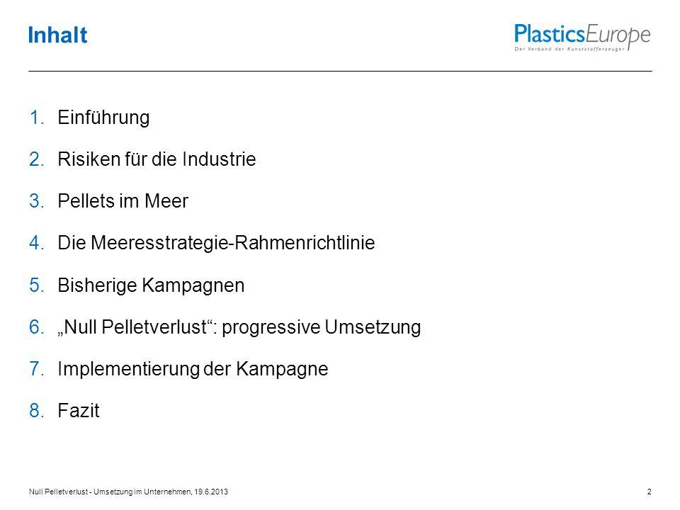 Inhalt Einführung Risiken für die Industrie Pellets im Meer