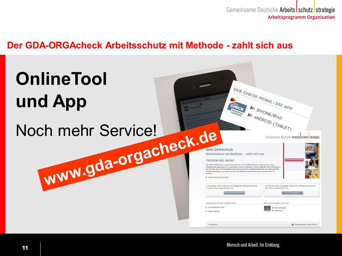 OnlineTool und App Noch mehr Service! www.gda-orgacheck.de
