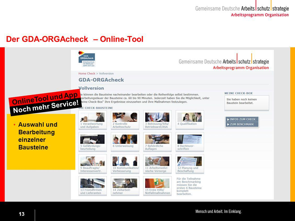 Der GDA-ORGAcheck – Online-Tool