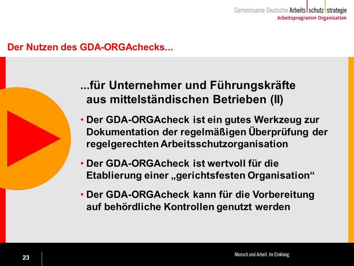 Der Nutzen des GDA-ORGAchecks...