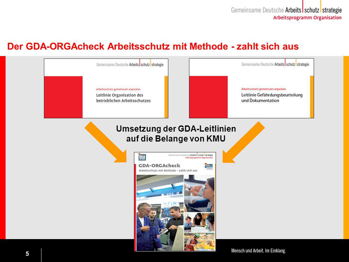Umsetzung der GDA-Leitlinien auf die Belange von KMU
