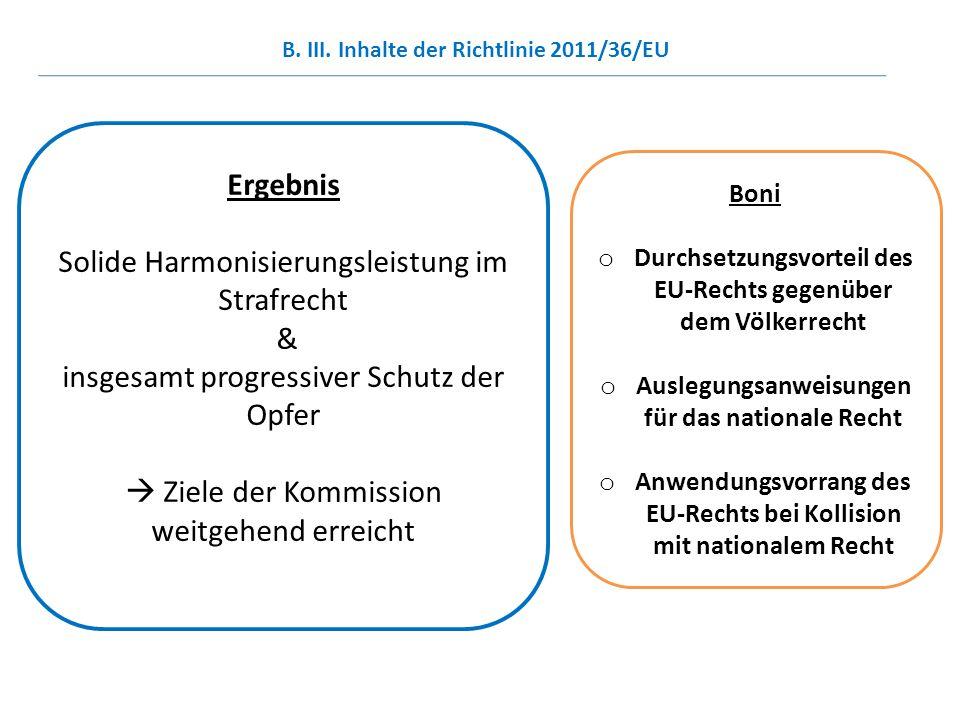 Solide Harmonisierungsleistung im Strafrecht &