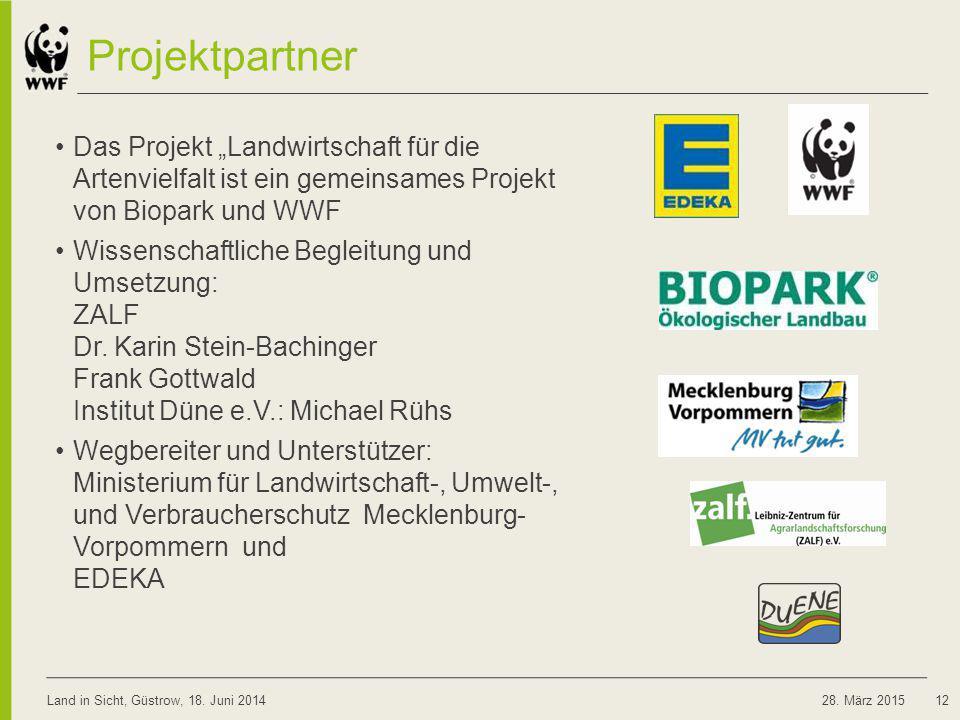 """08.04.2017 Projektpartner. Das Projekt """"Landwirtschaft für die Artenvielfalt ist ein gemeinsames Projekt von Biopark und WWF."""