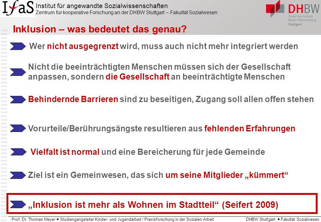 """""""Inklusion ist mehr als Wohnen im Stadtteil (Seifert 2009)"""