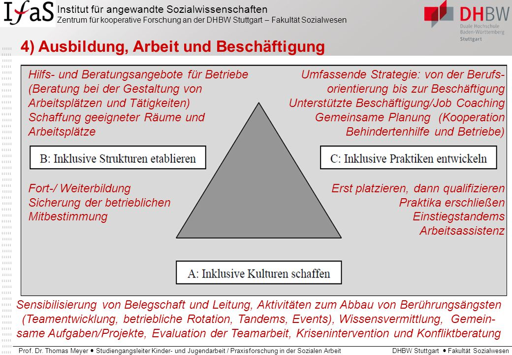 4) Ausbildung, Arbeit und Beschäftigung