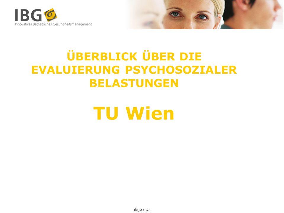 ÜBERBLICK ÜBER DIE EVALUIERUNG PSYCHOSOZIALER BELASTUNGEN TU Wien