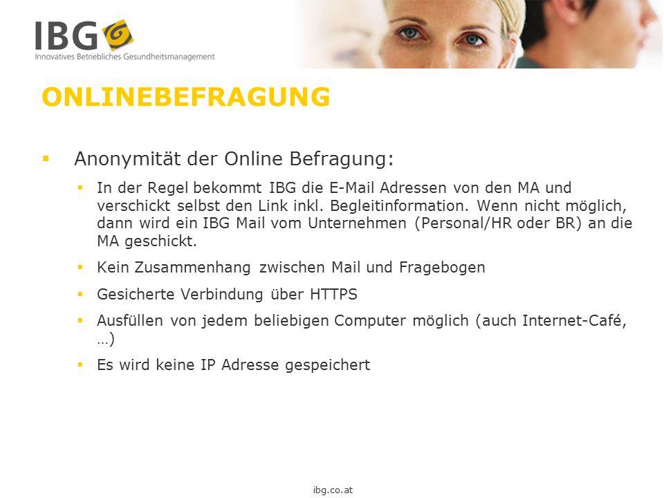 ONLINEBEFRAGUNG Anonymität der Online Befragung: