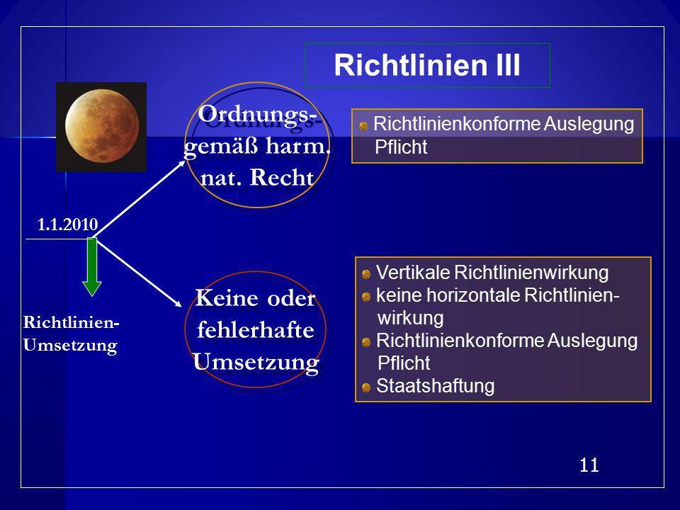 Richtlinien III Ordnungs- gemäß harm. nat. Recht Keine oder