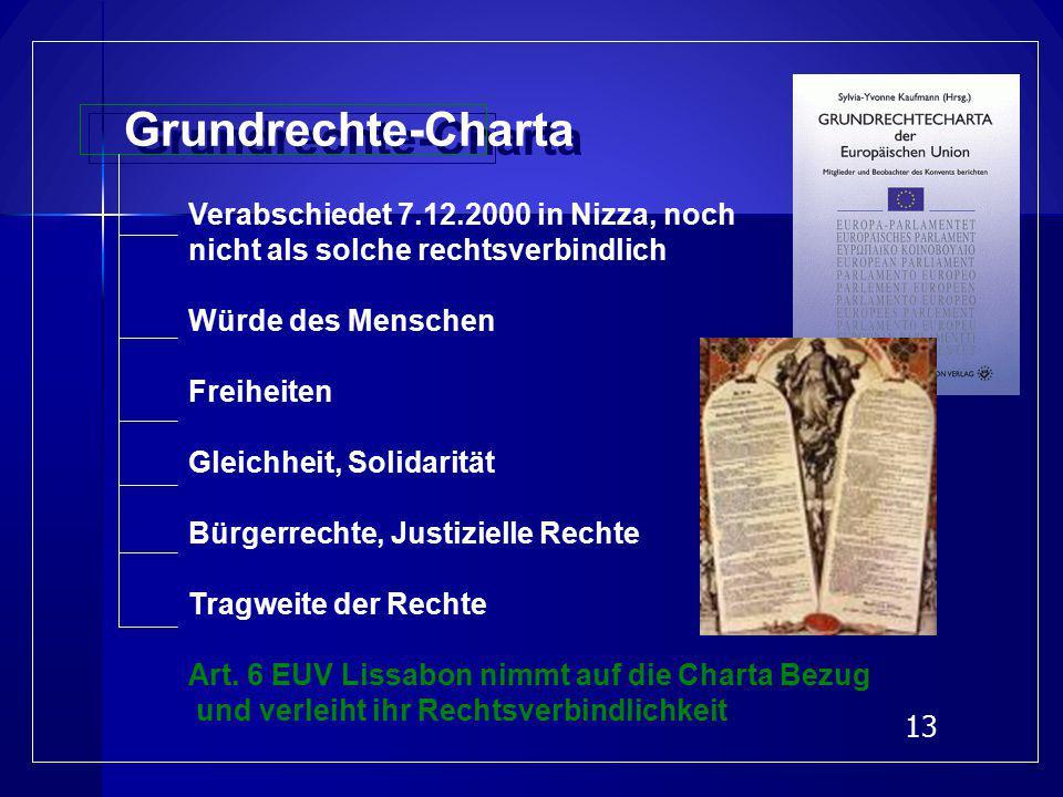 Grundrechte-Charta Verabschiedet 7.12.2000 in Nizza, noch. nicht als solche rechtsverbindlich. Würde des Menschen.