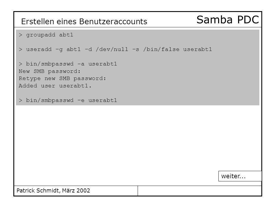 Samba PDC Erstellen eines Benutzeraccounts > groupadd abt1