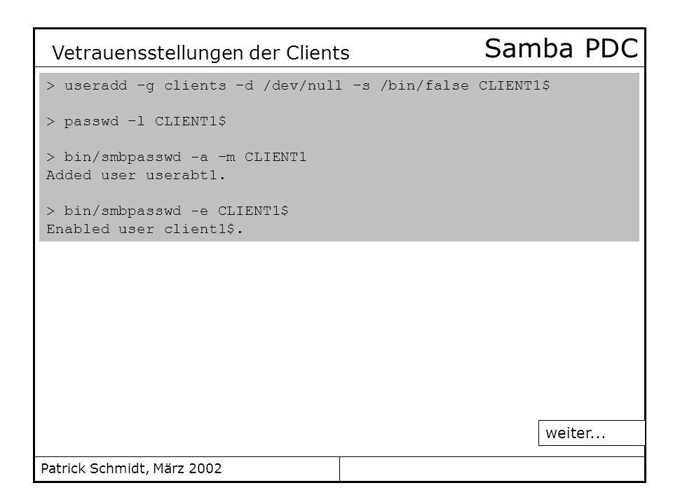 Samba PDC Vetrauensstellungen der Clients