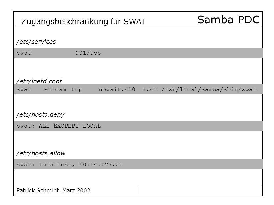 Samba PDC Zugangsbeschränkung für SWAT /etc/services swat 901/tcp